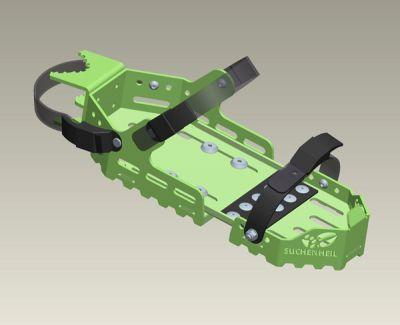 Ein bewährtes Schnallensystem aus dem Snowboardbereich um den Fährtenschuh «Suchenheil» schnell am Schuh des Fährtengehers zu befestigen